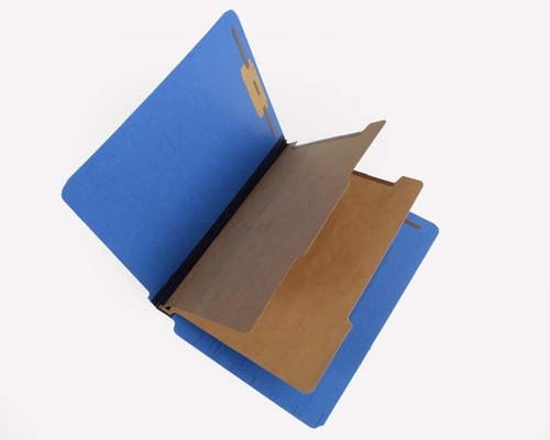 "25 PT Pressboard End Tab Classification Folder - 2 Kraft Dividers -  2-1/4"" Expansion - Letter Size - Royal Blue- 15/Box"