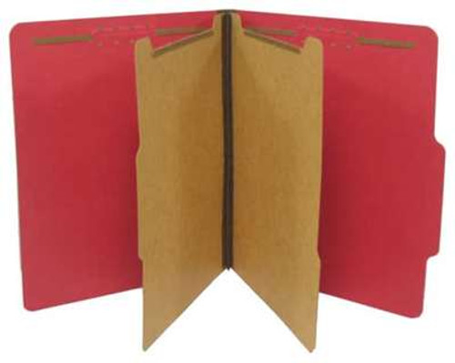 "Classification Folder 2 pt Kraft 6 in 1; 2 ¼"" Expansion Bright Ruby Red; Letter Size"