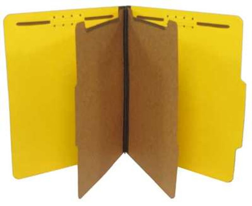 Classification Folder 25 Pt. Pressboard - 2/5 Cut Right of Center Top Tab - Embedded Fasteners in Positions 1 & 3 - Letter Size - 2 Kraft Dividers with Duo Fasteners -  Bright Yellow - 15/Box