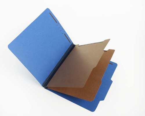 """Royal Blue Classification Folder with 2 Kraft Dividers - 2/5 Cut ROC Top Tab - 2 ¼"""" Tyvek Expansion  - Letter Size - 6 Fasteners -"""