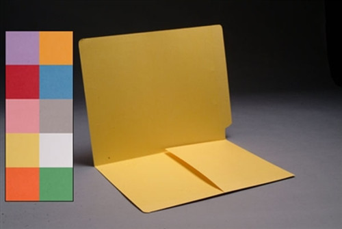 Yellow End Tab Colored File Folder with 1/2 Pocket Installed - Letter Size - 14 pt Stock - 50/Box