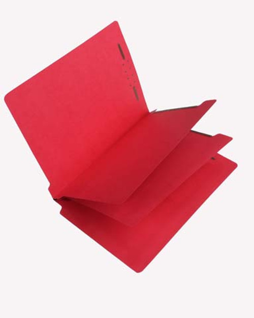 Economy End Tab Classification Folders with 2 Dividers -  Letter  Size - Red - 25/Box