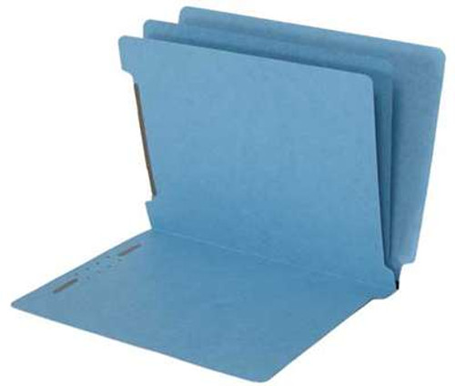 Economy End Tab  Classification Folders - 2 Dividers - Letter Size - Blue - Box of 25