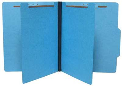 "15 PT. Blue Classification Folders with 2 Dividers, 2/5 Cut Right of Center Top Tab, 1"" Expansion, Letter Size - 25/Box"