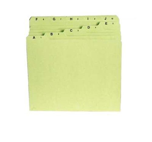 File Guide Self-Tab A-Z Pressboard Green Letter Size 3 ST/BX 4 BX/CT