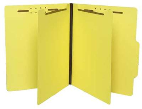"Classification Folder with 2 Dividers 2/5 Cut Right 1"" Expansion - Letter Size - Yellow - 25/Box"