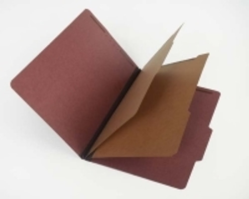 """Classification Folder, Top Tab, Red 25 pt Pressboard with 2 dividers; 2 ¼"""" Expansion - Legal Size - 15/Box"""