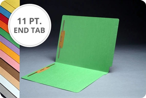 End Tab 11 Pt. Colored Folder with 2 Fasteners - Letter Size -  50/Box - Comes in 11 colors