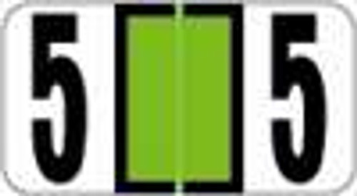 Reynolds and Reynolds Numeric Label (Rolls) - 5 - Lt. Green