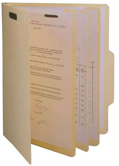 """Top Tab Classification Folders with 3 Dividers and Fasteners, 2/5 Cut Right of Center Top Tab, 1-1/2""""€ Expansion,  Letter Size, 15 PT. Manila Stock - 15/Box"""