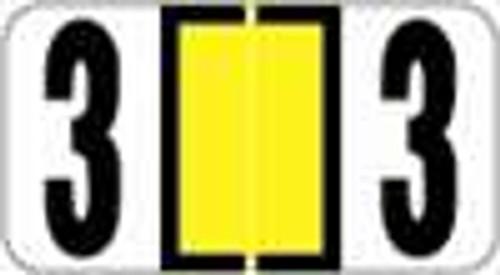 Reynolds and Reynolds Numeric Label (Rolls) - 3 - Yellow