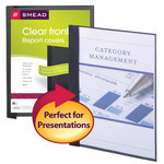 Clear Front Report Covers in Linen