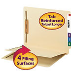 End Tab Fastener Folder with Divider