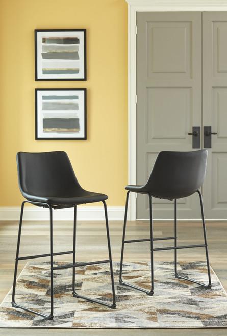 Centiar Black Tall Upholstered Barstool (Set of 2)