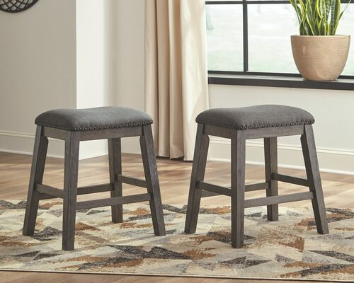 Caitbrook Gray Upholstered Stool (Set of 2)