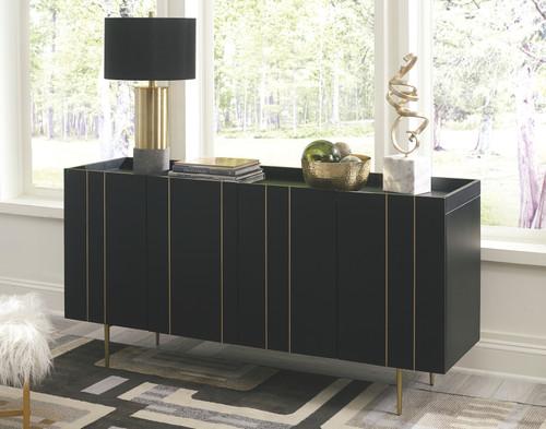 Brentburn Black/Gold Finish Accent Cabinet