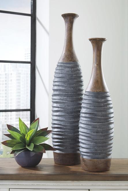 BLAYZE Antique Gray/Brown Vase Set