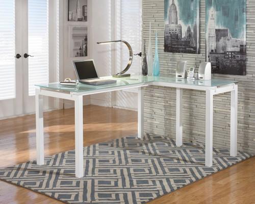 Baraga White L-Desk