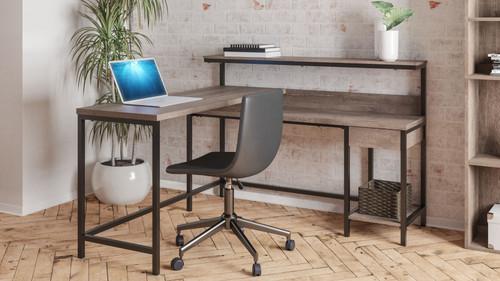 Arlenbry Gray L-Desk with Storage & Swivel Desk Chair