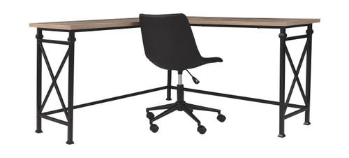 Jaeparli Grayish Brown L-Desk & Swivel Desk Chair