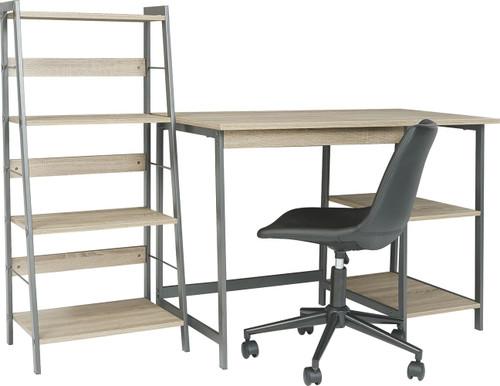 Soho Dark Brown Desk, Shelf & Swivel Desk Chair