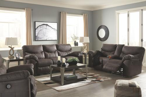 Boxberg Teak Reclining Power Sofa, Double Reclining Power Loveseat with Console & Power Rocker Recliner