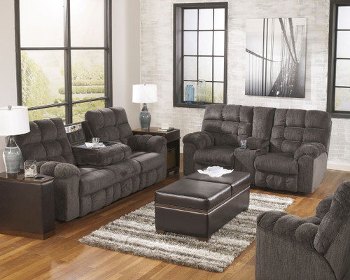 Acieona Slate Reclining Sofa with Drop Down Table, Double Rec Loveseat with Console & Swivel Rocker Recliner