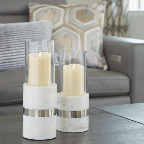 Gracelyn White/Silver Finish Candle Holder Set (2/CN)