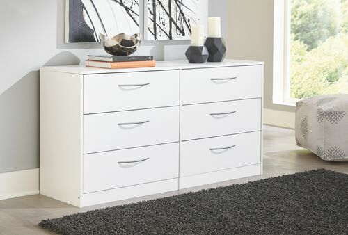 Flannia White Six Drawer Dresser