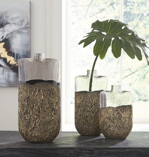 Clement Antique Gold Finish Vase Set (3/CN)