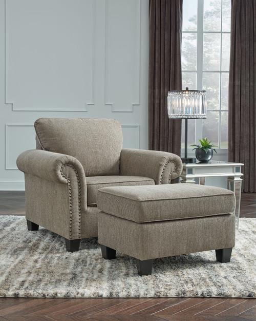 Shewsbury Pewter 2 Pc. Chair, Ottoman