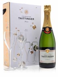 Taittinger Brut Reserve Champagne & 2 Flute Gift Set (75cl)