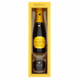 Prosecco Vino Spumante Extra Dry (20cl) & Vanilla Scented Candle Gift Set