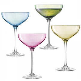 LSA Polka Champagne Saucers Pastel 390ml (Assorted set of 4)