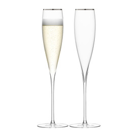 LSA Savoy Champagne Flutes Platinum 200ml (Set of 2)