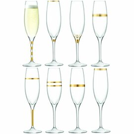LSA Deco Champagne Flutes Gold 225ml (Set of 8)