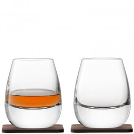LSA Whisky Islay Tumbler 250ml and Walnut Coaster (Set of 2)