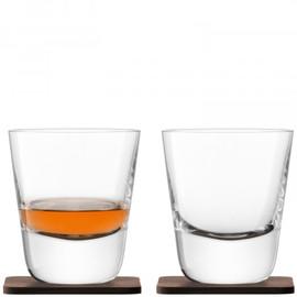 LSA Arran Whisky Tumbler 250ml and Walnut Coaster (Set of 2)