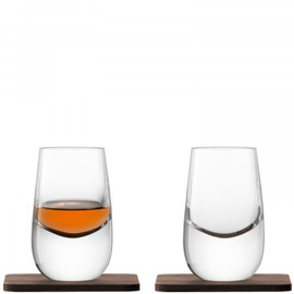 LSA Whisky Islay Shot Glass 80ml and Walnut Coaster (Set of 2)