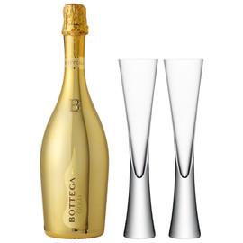 Bottega Gold 75clwith x2 LSA Moya Champagne Flutes Set