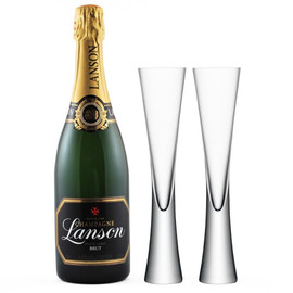 Lanson Black Label Brut NV with x2 LSA Moya Champagne Flutes