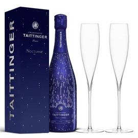 Taittinger Nocturne Sec NV City Lights 75cl with x2 LSA Savoy Champagne Flutes
