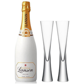 Lanson White Label NV 75cl with x2 LSA Moya Champagne Flutes