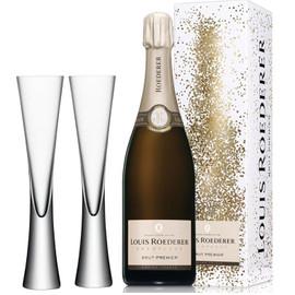 Louis Roederer Brut Premier NV (75cl) With x2 LSA Moya Champagne Flutes