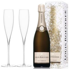 Louis Roederer Brut Premier NV (75cl) with x2 Savoy Champagne Flutes
