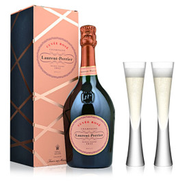 Laurent-Perrier Rose NV (75cl) With x2 LSA Moya Champagne Flutes