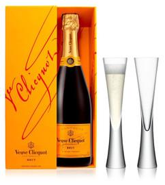 Veuve Clicquot Brut NV (75cl) with x2 LSA Moya Champagne Flutes