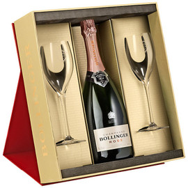 Bollinger Rose Gift Set With 2 Elizabeth Glasses (29cl) NV (75cl)
