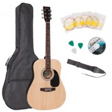 ENCORE ACOUSTIC STEEL STRUNG GUITAR - FULL SIZE OUTFIT (NATURAL)