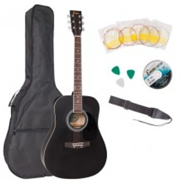ENCORE ACOUSTIC STEEL STRUNG GUITAR - FULL SIZE OUTFIT (BLACK)